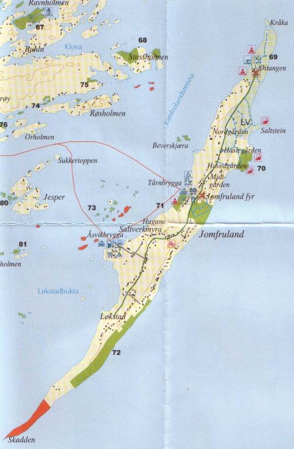 kart over jomfruland Kart og beskrivelse kart over jomfruland