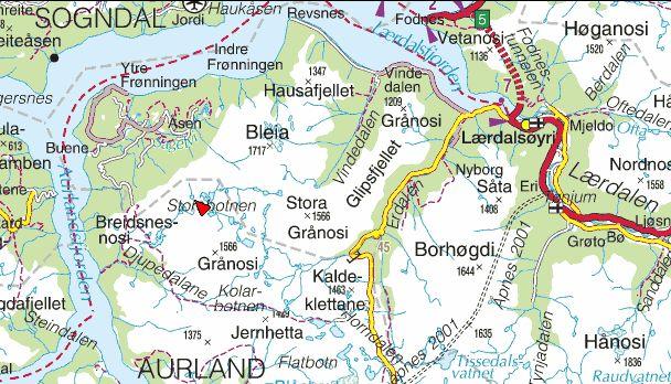 kart nærøyfjorden Botanikk.no kart nærøyfjorden